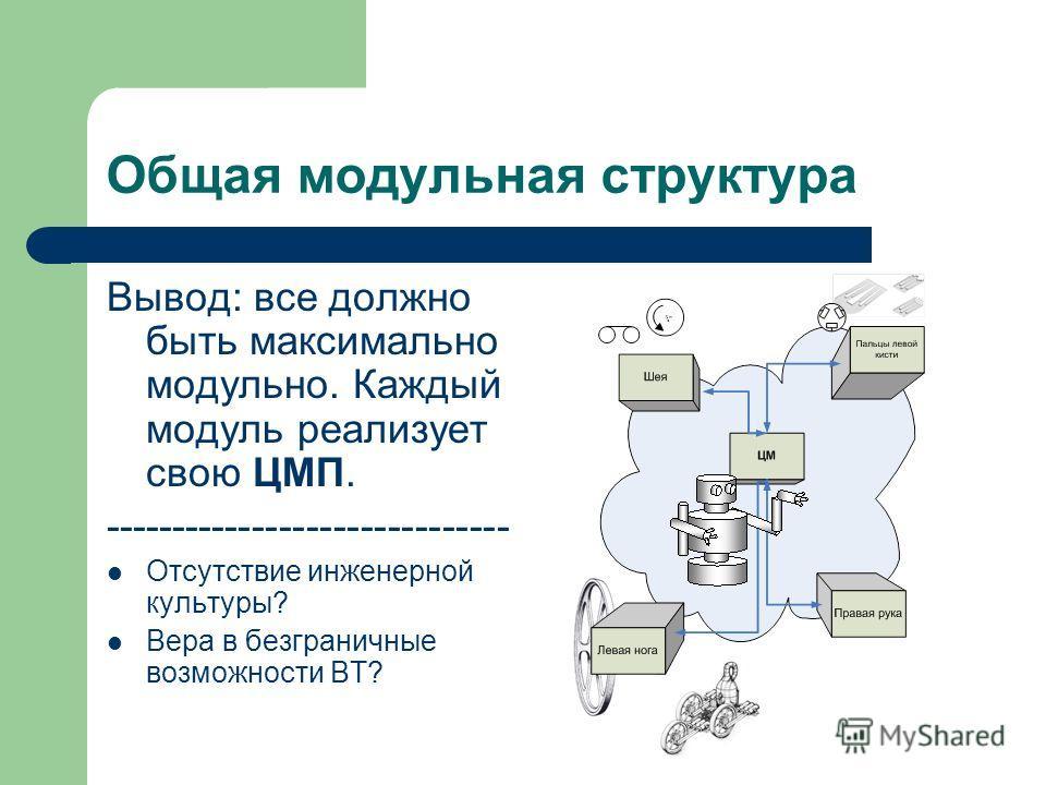 Общая модульная структура Вывод: все должно быть максимально модульно. Каждый модуль реализует свою ЦМП. ------------------------------ Отсутствие инженерной культуры? Вера в безграничные возможности ВТ?