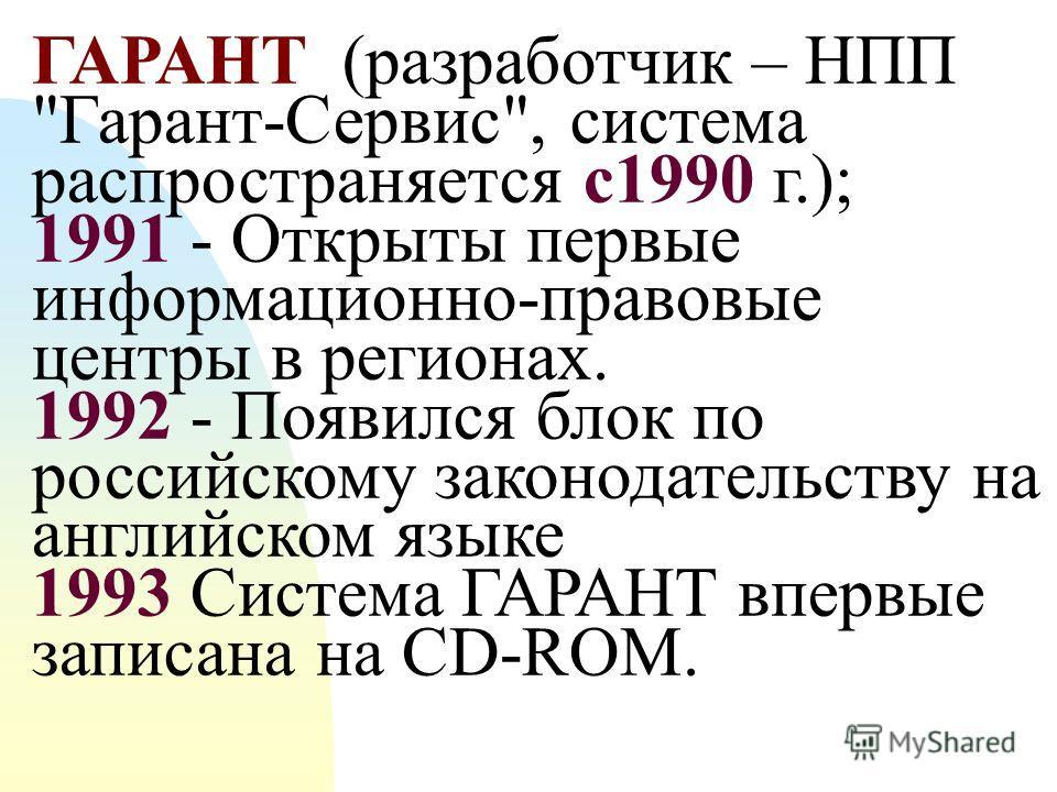 1. Назначение ИПС ГАРАНТ и ее информационное наполнение
