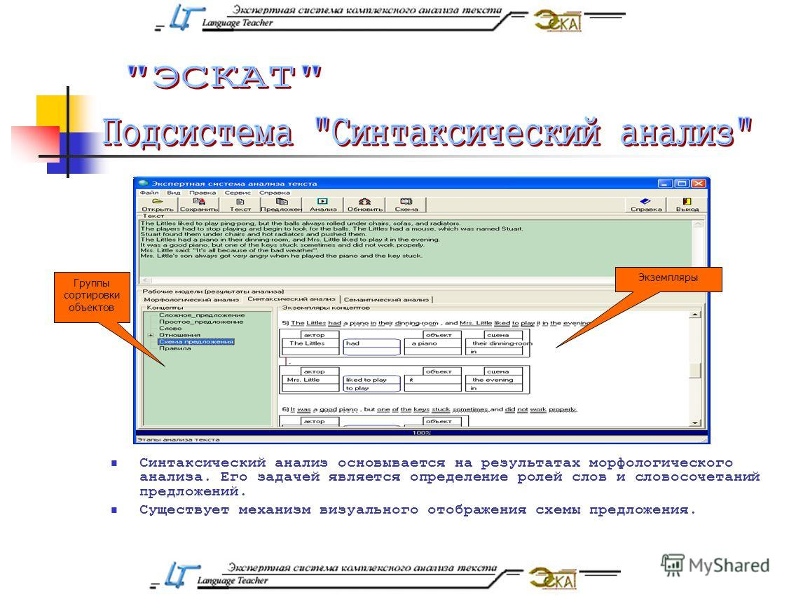 Синтаксический анализ основывается на результатах морфологического анализа. Его задачей является определение ролей слов и словосочетаний предложений. Существует механизм визуального отображения схемы предложения. Экземпляры Группы сортировки объектов