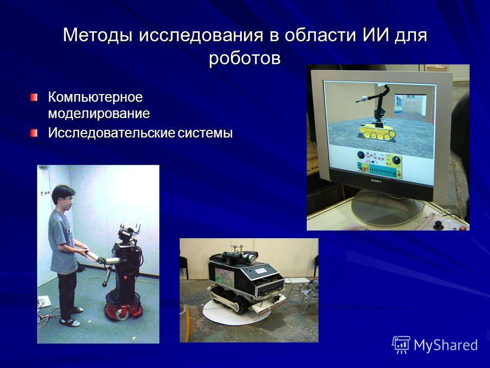 Методы исследования в области ИИ для роботов Компьютерное моделирование Исследовательские системы