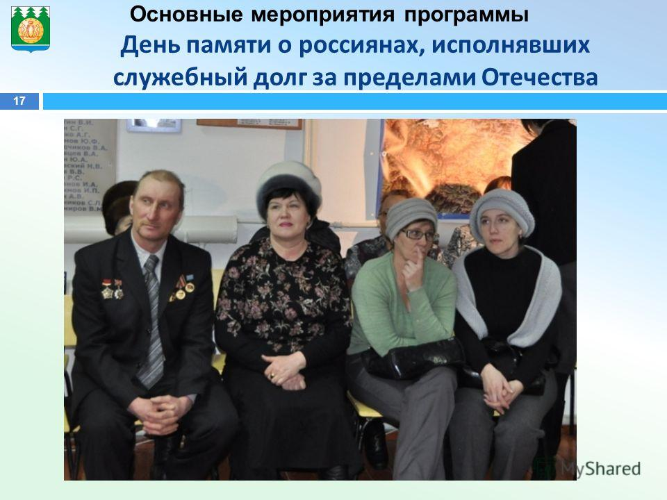 17 Основные мероприятия программы День памяти о россиянах, исполнявших служебный долг за пределами Отечества