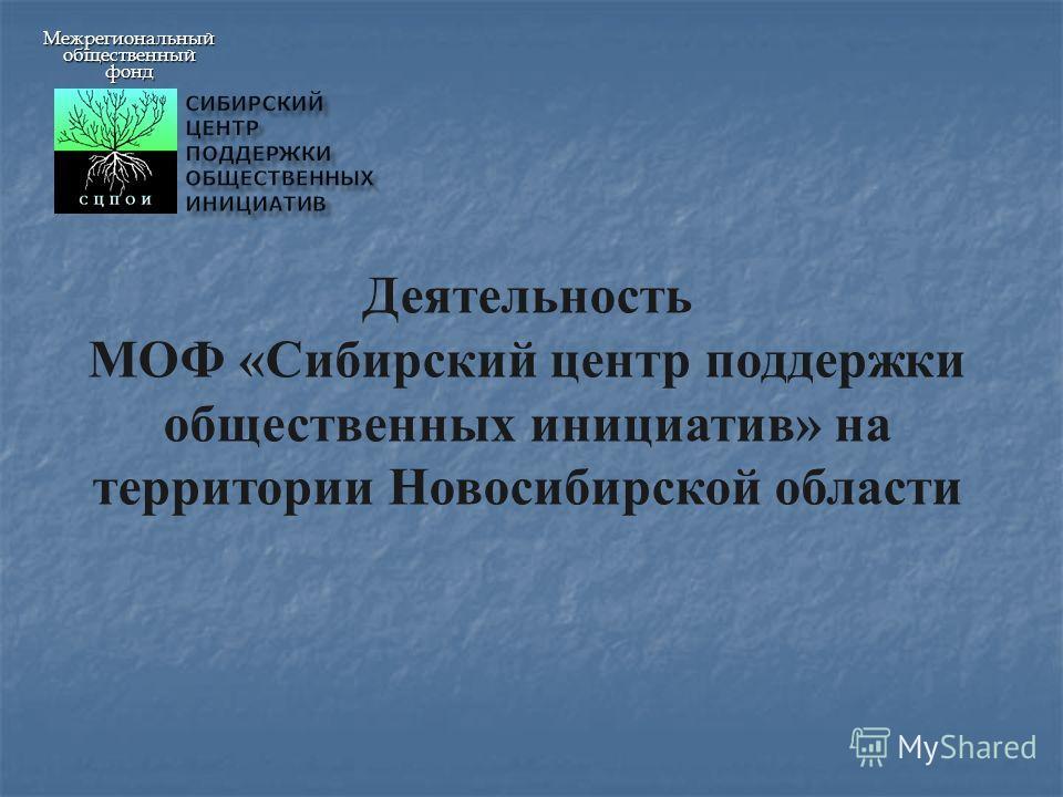 Межрегиональныйобщественныйфонд Деятельность МОФ «Сибирский центр поддержки общественных инициатив» на территории Новосибирской области