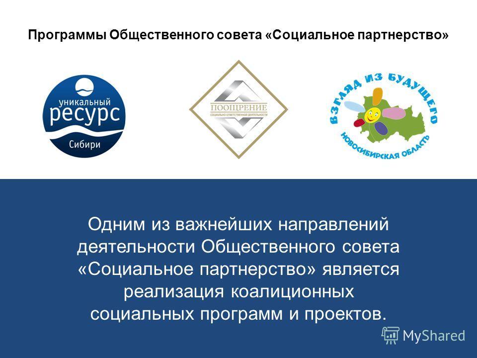 Программы Общественного совета «Социальное партнерство» Одним из важнейших направлений деятельности Общественного совета «Социальное партнерство» является реализация коалиционных социальных программ и проектов.
