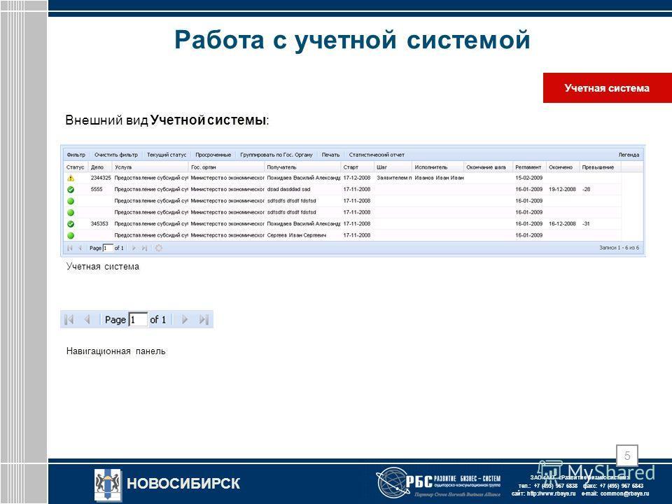 ЗАО « АКГ « Развитие бизнес-систем » тел.: +7 (495) 967 6838 факс: +7 (495) 967 6843 сайт: http://www.rbsys.ru e-mail: common@rbsys.ru НОВОСИБИРСК 5 Работа с учетной системой Учетная система Внешний вид Учетной системы: Навигационная панель