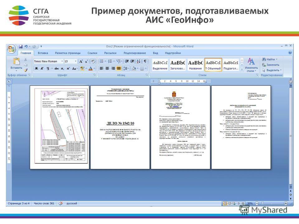 Пример документов, подготавливаемых АИС «ГеоИнфо»