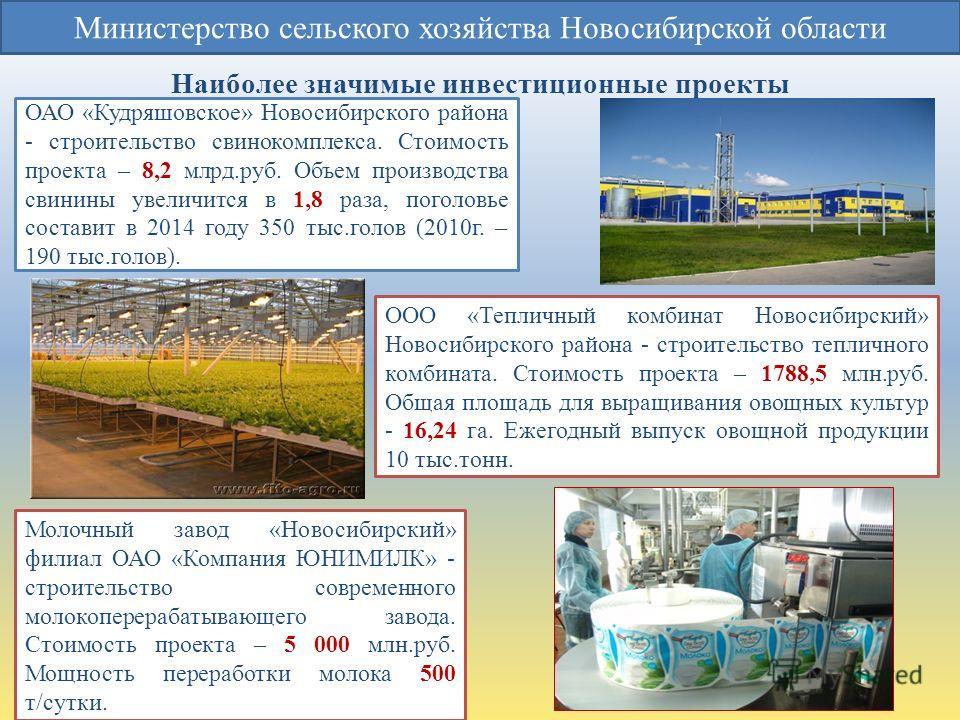 Наиболее значимые инвестиционные проекты Министерство сельского хозяйства Новосибирской области ОАО «Кудряшовское» Новосибирского района - строительство свинокомплекса. Стоимость проекта – 8,2 млрд.руб. Объем производства свинины увеличится в 1,8 раз