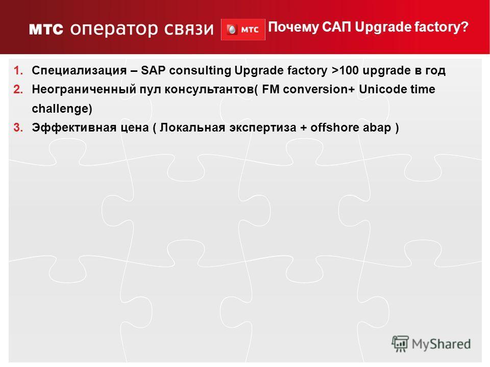 14 Puzzle Предложение по выполнению проекта апргейда как платформы для дальнейшего развития направления SAP – 2009 г. Выполнение предварительного детального анализа – апрель 2010г., исполнитель SAP Global Delivery Объявление тендера – май 2010г. Выбо