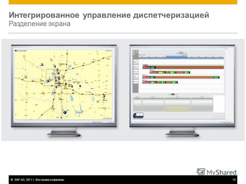 ©SAP AG, 2011 г. Все права сохранены.13 Интегрированное управление диспетчеризацией Разделение экрана