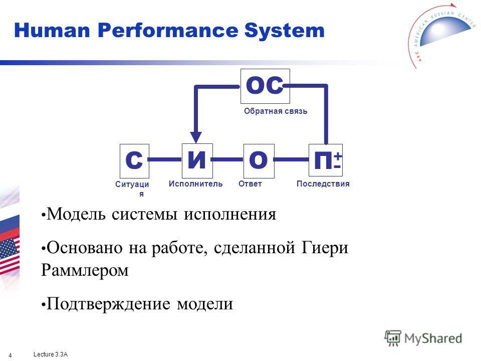 Lecture 3.3A 4 ОС С И О П+П+ Обратная связь ИсполнительОтветПоследствия Ситуаци я Модель системы исполнения Основано на работе, сделанной Гиери Раммлером Подтверждение модели Human Performance System