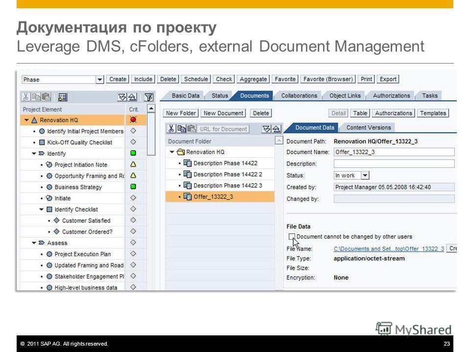 ©2011 SAP AG. All rights reserved.23 Документация по проекту Leverage DMS, cFolders, external Document Management