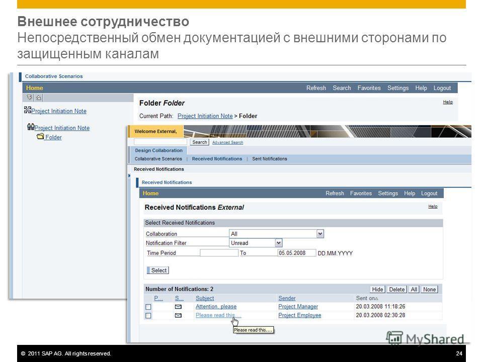 ©2011 SAP AG. All rights reserved.24 Внешнее сотрудничество Непосредственный обмен документацией с внешними сторонами по защищенным каналам
