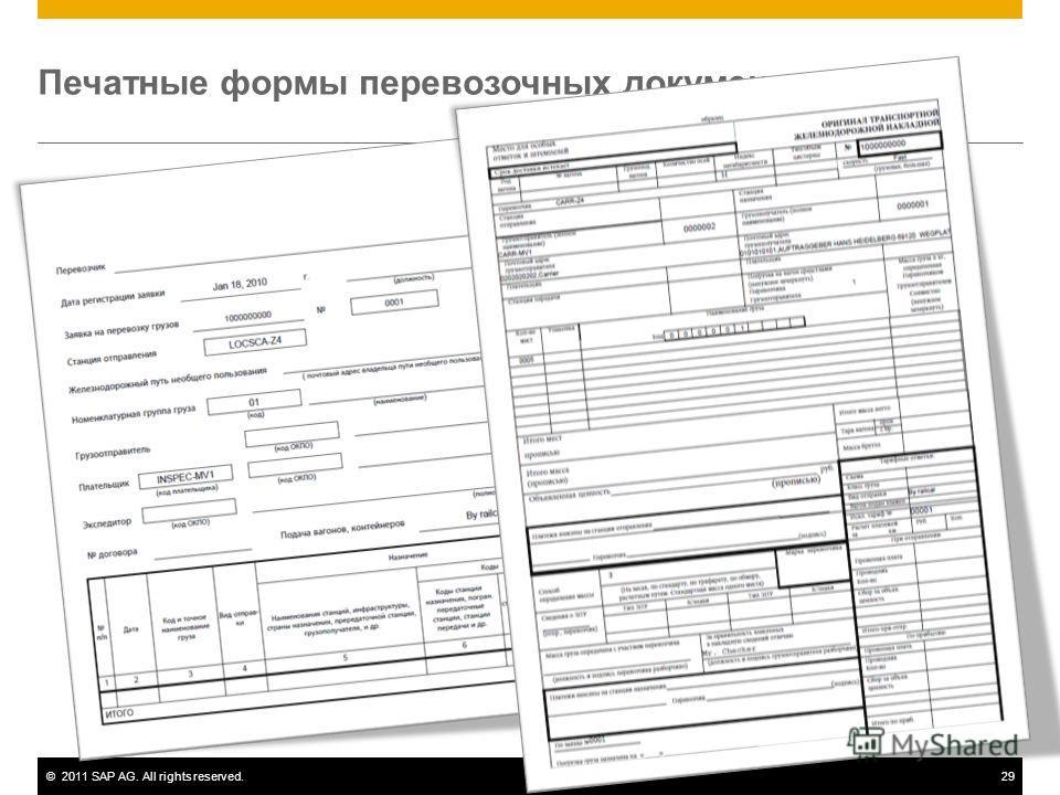 ©2011 SAP AG. All rights reserved.29 Печатные формы перевозочных документов