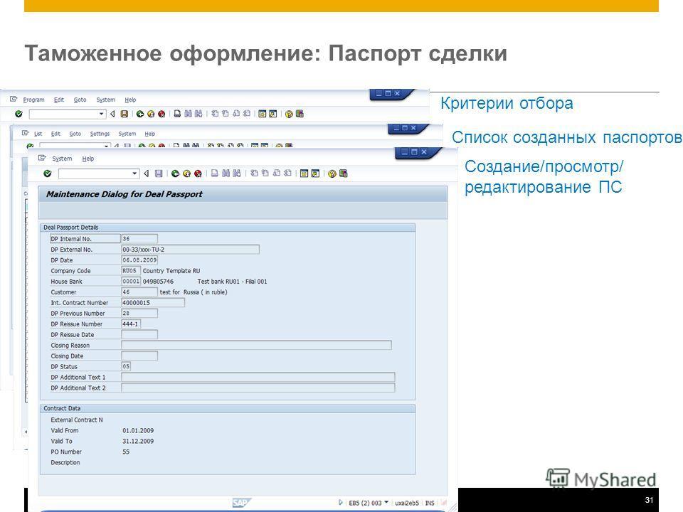 ©2011 SAP AG. All rights reserved.31 Критерии отбора Таможенное оформление: Паспорт сделки Список созданных паспортов Создание/просмотр/ редактирование ПС