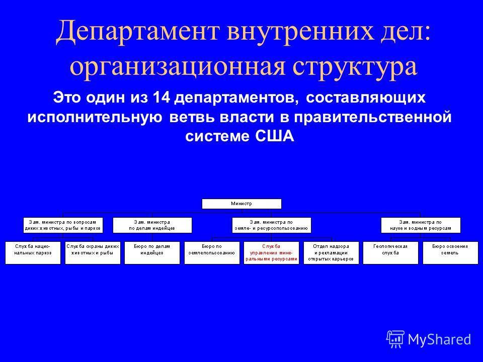 Департамент внутренних дел: организационная структура Это один из 14 департаментов, составляющих исполнительную ветвь власти в правительственной системе США