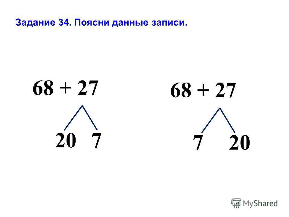 68 + 27 720 68 + 27 207 Задание 34. Поясни данные записи.