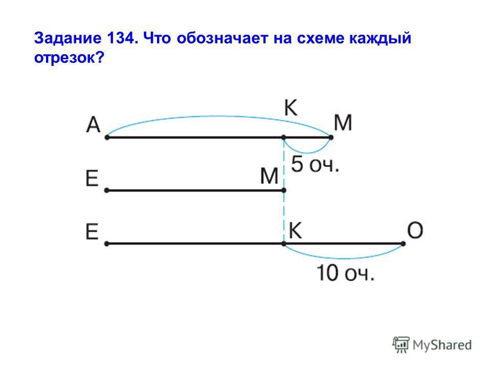 Задание 134. Что обозначает на схеме каждый отрезок?