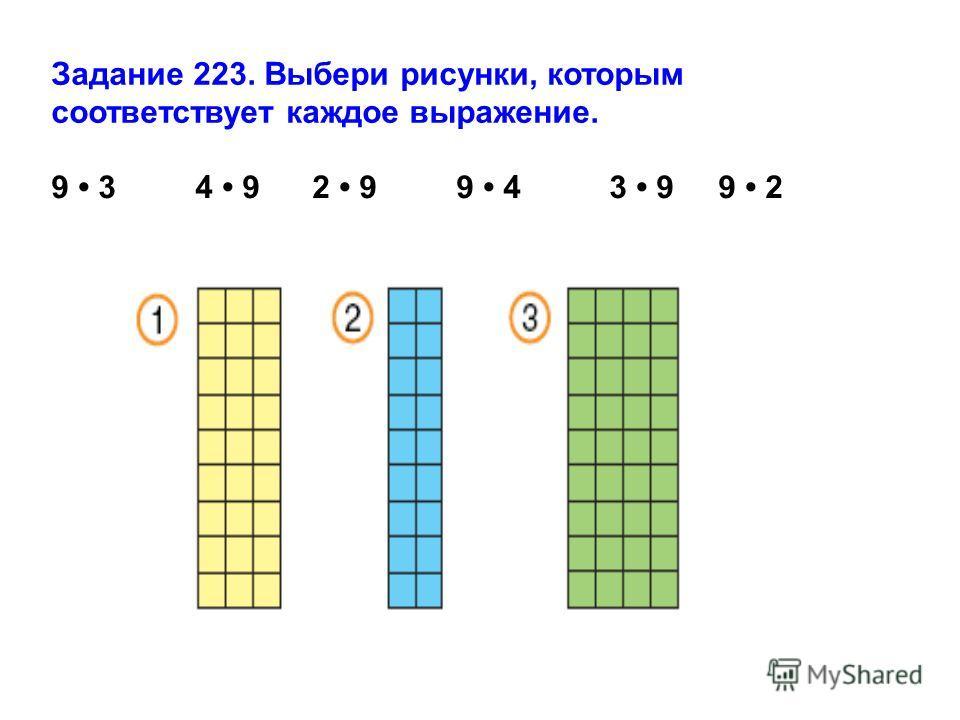 Задание 223. Выбери рисунки, которым соответствует каждое выражение. 9 3 4 9 2 9 9 4 3 9 9 2