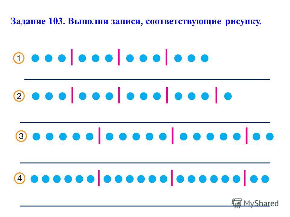 Задание 103. Выполни записи, соответствующие рисунку.