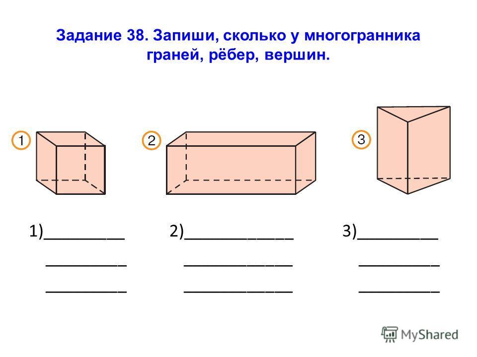Задание 38. Запиши, сколько у многогранника граней, рёбер, вершин. 1)_________ 2)____________ 3)_________ _________ ____________ _________