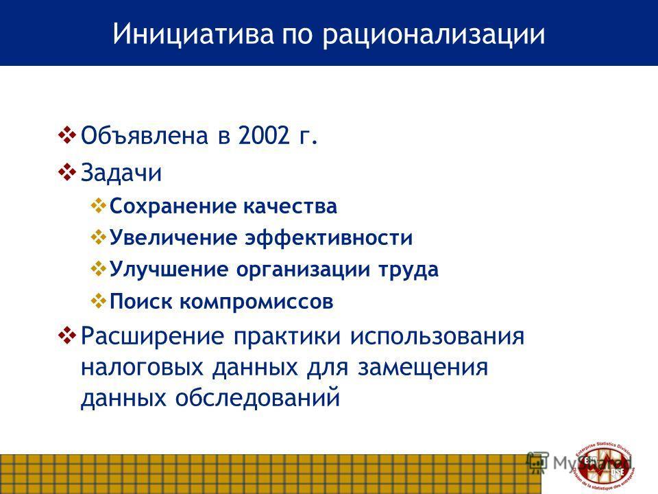 Инициатива по рационализации Объявлена в 2002 г. Задачи Сохранение качества Увеличение эффективности Улучшение организации труда Поиск компромиссов Расширение практики использования налоговых данных для замещения данных обследований