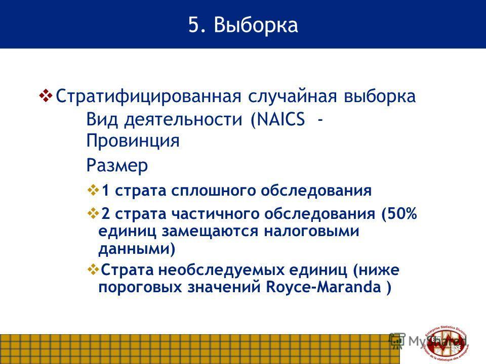 5. Выборка Стратифицированная случайная выборка Вид деятельности (NAICS - Провинция Размер 1 страта сплошного обследования 2 страта частичного обследования (50% единиц замещаются налоговыми данными) Страта необследуемых единиц (ниже пороговых значени