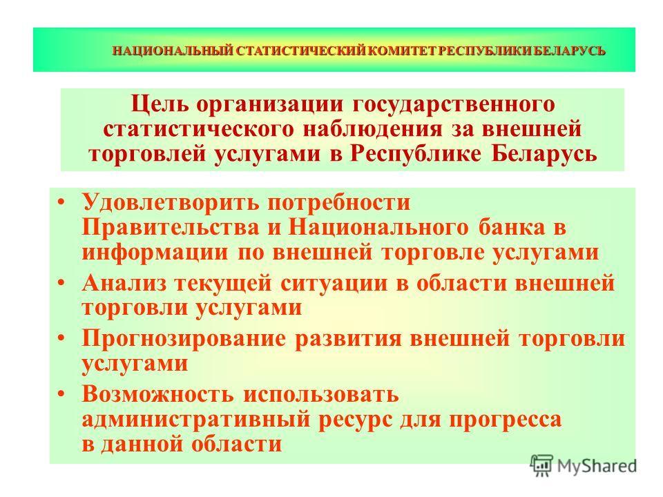 НАЦИОНАЛЬНЫЙ СТАТИСТИЧЕСКИЙ КОМИТЕТ РЕСПУБЛИКИ БЕЛАРУСЬ Цель организации государственного статистического наблюдения за внешней торговлей услугами в Республике Беларусь Удовлетворить потребности Правительства и Национального банка в информации по вне