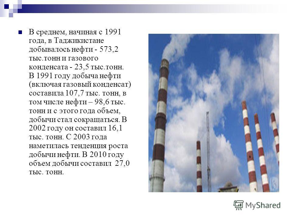 В среднем, начиная с 1991 года, в Таджикистане добывалось нефти - 573,2 тыс.тонн и газового конденсата - 23,5 тыс.тонн. В 1991 году добыча нефти (включая газовый конденсат) составила 107,7 тыс. тонн, в том числе нефти – 98,6 тыс. тонн и с этого года