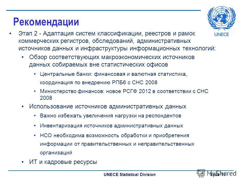 UNECE Statistical Division Slide 11 Рекомендации Этап 2 - Адаптация систем классификации, реестров и рамок коммерческих регистров, обследований, административных источников данных и инфраструктуры информационных технологий: Обзор соответствующих макр