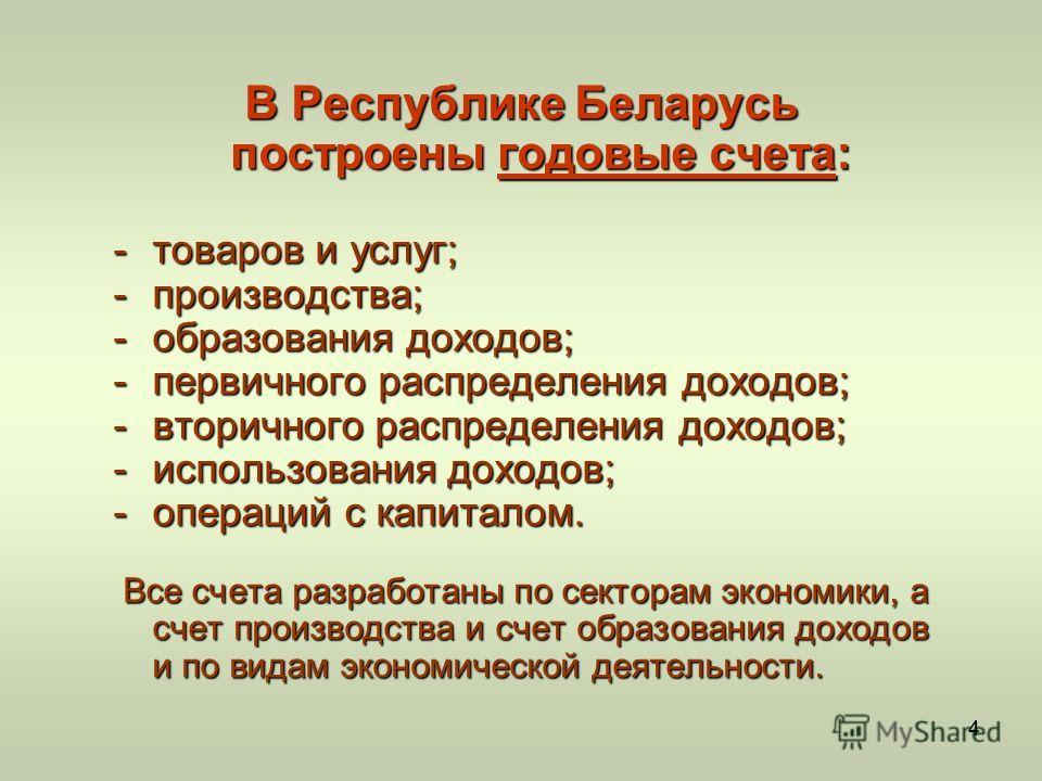 44 В Республике Беларусь построены годовые счета: -товаров и услуг; -производства; -образования доходов; -первичного распределения доходов; -вторичного распределения доходов; -использования доходов; -операций с капиталом. Все счета разработаны по сек