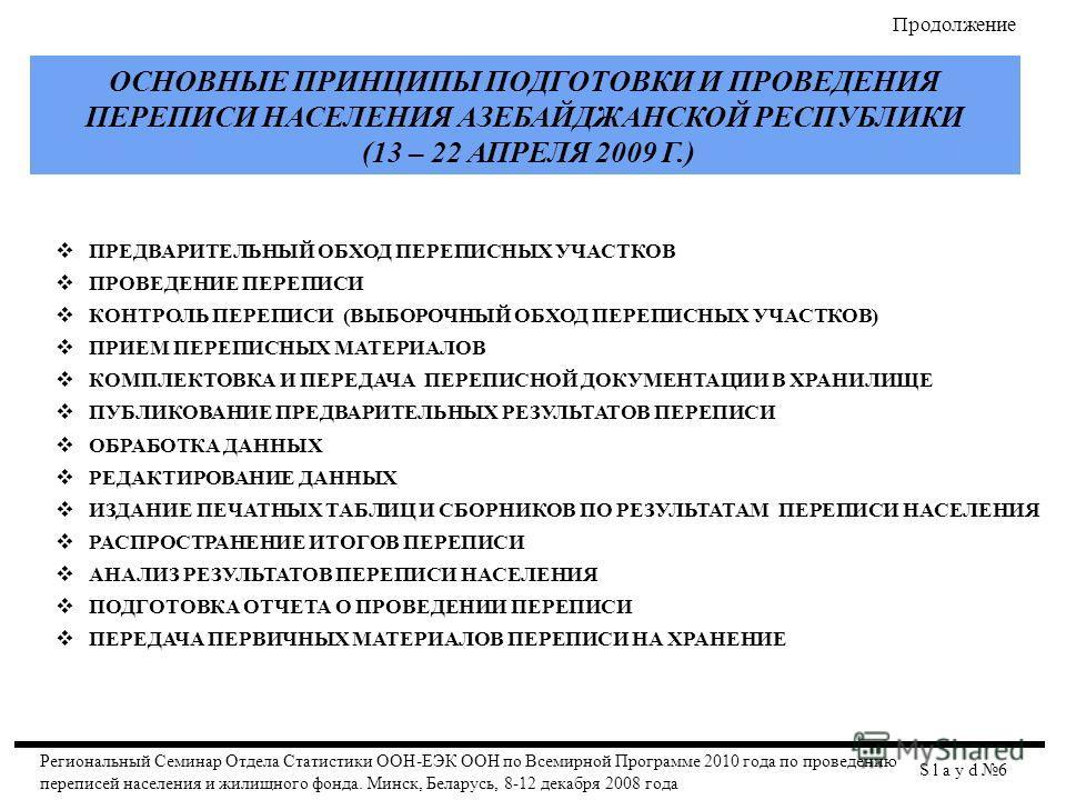 ОСНОВНЫЕ ПРИНЦИПЫ ПОДГОТОВКИ И ПРОВЕДЕНИЯ ПЕРЕПИСИ НАСЕЛЕНИЯ АЗЕБАЙДЖАНСКОЙ РЕСПУБЛИКИ (13 – 22 АПРЕЛЯ 2009 Г.) ПРЕДВАРИТЕЛЬНЫЙ ОБХОД ПЕРЕПИСНЫХ УЧАСТКОВ ПРОВЕДЕНИЕ ПЕРЕПИСИ КОНТРОЛЬ ПЕРЕПИСИ (ВЫБОРОЧНЫЙ ОБХОД ПЕРЕПИСНЫХ УЧАСТКОВ) ПРИЕМ ПЕРЕПИСНЫХ МА