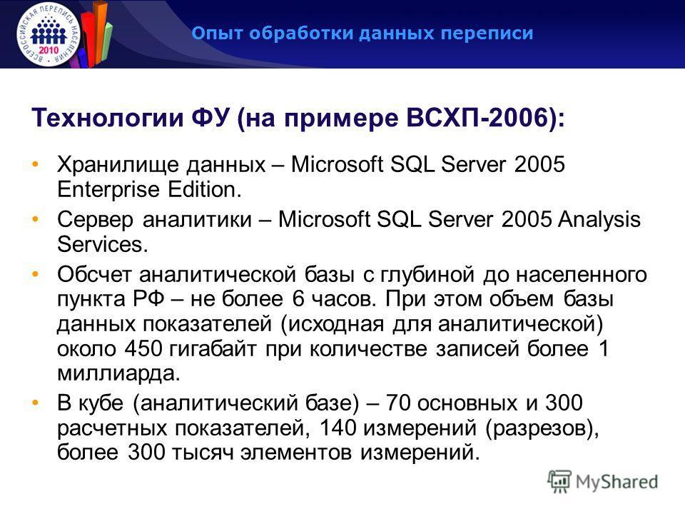 Опыт обработки данных переписи Технологии ФУ (на примере ВСХП-2006): Хранилище данных – Microsoft SQL Server 2005 Enterprise Edition. Сервер аналитики – Microsoft SQL Server 2005 Analysis Services. Обсчет аналитической базы с глубиной до населенного