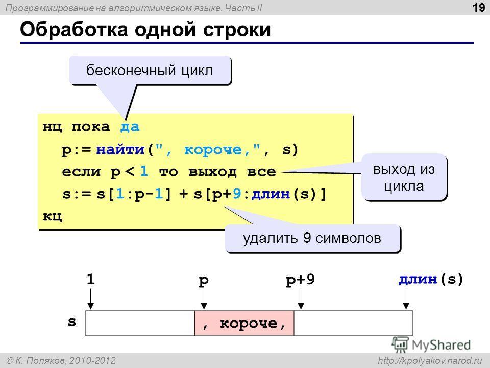Программирование на алгоритмическом языке. Часть II К. Поляков, 2010-2012 http://kpolyakov.narod.ru Обработка одной строки 19 нц пока да p:= найти(