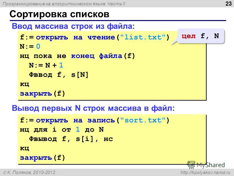 Программирование на алгоритмическом языке. Часть II К. Поляков, 2010-2012 http://kpolyakov.narod.ru Сортировка списков 23 Ввод массива строк из файла: f:= открыть на чтение(