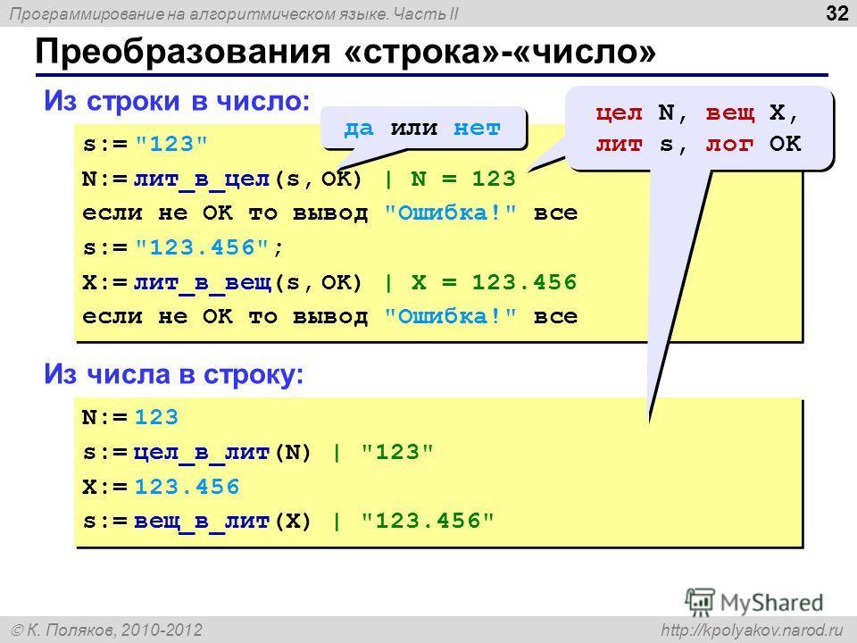 Программирование на алгоритмическом языке. Часть II К. Поляков, 2010-2012 http://kpolyakov.narod.ru Преобразования «строка»-«число» 32 Из строки в число: s:=