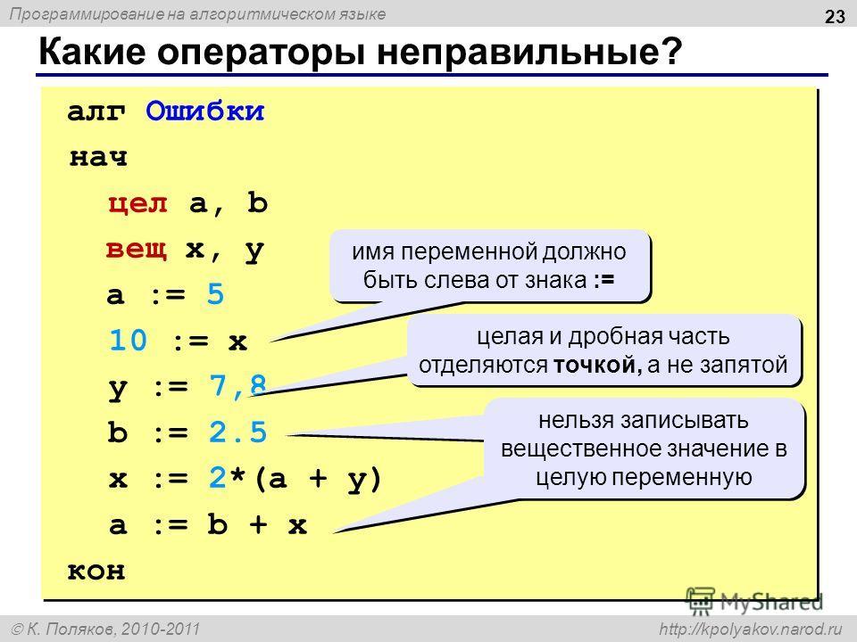 Программирование на алгоритмическом языке К. Поляков, 2010-2011 http://kpolyakov.narod.ru Какие операторы неправильные? 23 алг Ошибки нач цел a, b вещ x, y a := 5 10 := x y := 7,8 b := 2.5 x := 2*(a + y) a := b + x кон алг Ошибки нач цел a, b вещ x,