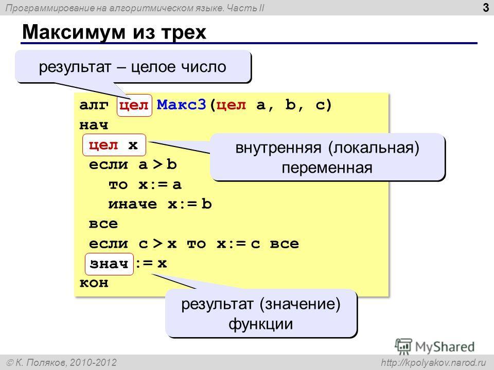 Программирование на алгоритмическом языке. Часть II К. Поляков, 2010-2012 http://kpolyakov.narod.ru Максимум из трех 3 алг цел Макс3(цел a, b, c) нач цел x если a > b то x:= a иначе x:= b все если c > x то x:= c все знач := x кон знач цел x цел резул