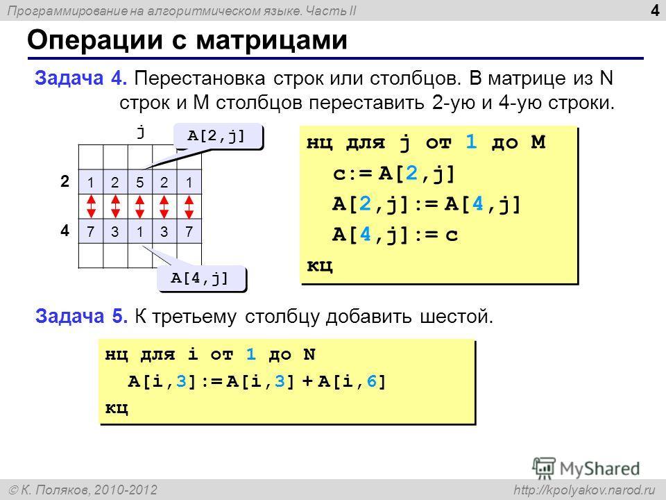 Программирование на алгоритмическом языке. Часть II К. Поляков, 2010-2012 http://kpolyakov.narod.ru Операции с матрицами 4 Задача 4. Перестановка строк или столбцов. В матрице из N строк и M столбцов переставить 2-ую и 4-ую строки. 12521 73137 2 4 j