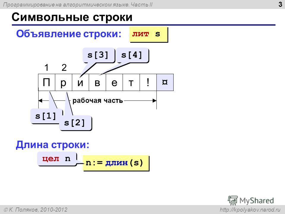 Программирование на алгоритмическом языке. Часть II К. Поляков, 2010-2012 http://kpolyakov.narod.ru Символьные строки 3 Привет!¤ 1 рабочая часть s[1] s[2] s[3] s[4] лит s Длина строки: n:= длин(s) цел n 2 Объявление строки: