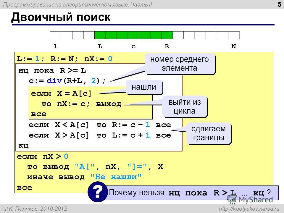 Программирование на алгоритмическом языке. Часть II К. Поляков, 2010-2012 http://kpolyakov.narod.ru Двоичный поиск 5 L:= 1; R:= N; nX:= 0 если nX > 0 то вывод