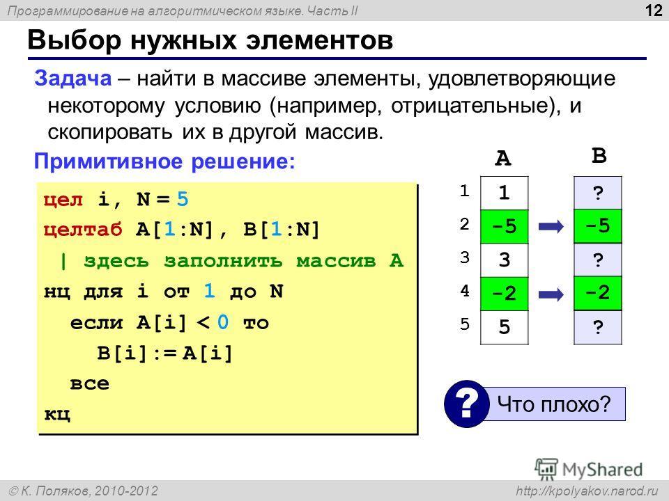 Программирование на алгоритмическом языке. Часть II К. Поляков, 2010-2012 http://kpolyakov.narod.ru 12 Выбор нужных элементов Задача – найти в массиве элементы, удовлетворяющие некоторому условию (например, отрицательные), и скопировать их в другой м