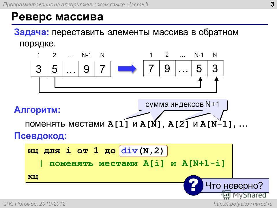 Программирование на алгоритмическом языке. Часть II К. Поляков, 2010-2012 http://kpolyakov.narod.ru 3 Реверс массива Задача: переставить элементы массива в обратном порядке. Алгоритм: поменять местами A[1] и A[N], A[2] и A[N-1], … Псевдокод: 35…97 79