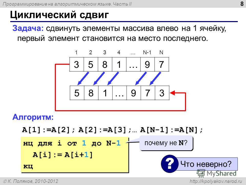 Программирование на алгоритмическом языке. Часть II К. Поляков, 2010-2012 http://kpolyakov.narod.ru 8 Циклический сдвиг Задача: сдвинуть элементы массива влево на 1 ячейку, первый элемент становится на место последнего. Алгоритм: A[1]:=A[2]; A[2]:=A[