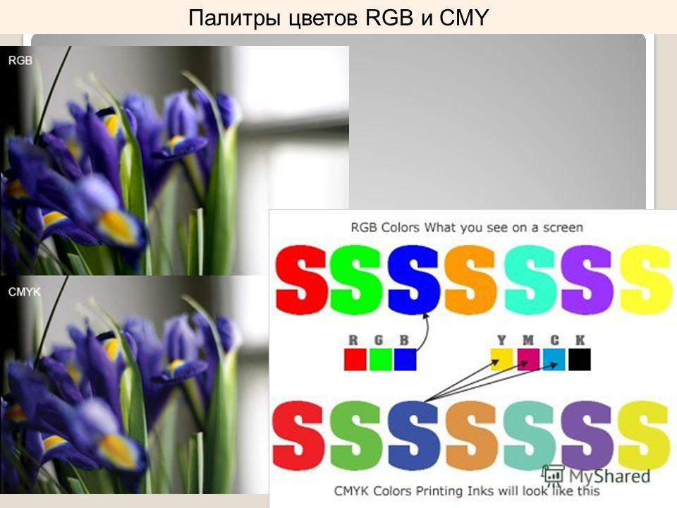 Палитры цветов RGB и CMY