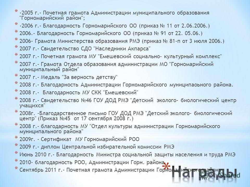 * -2005 г.- Почетная грамота Администрации муниципального образования