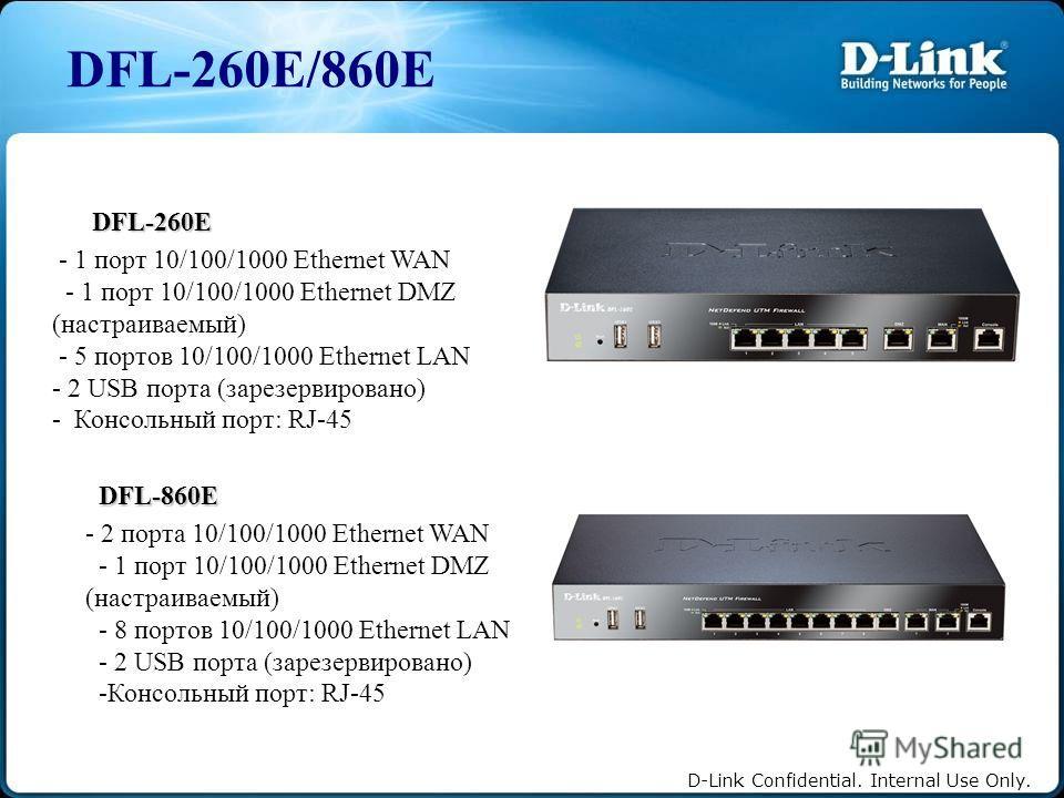 D-Link Confidential. Internal Use Only. DFL-260E/860E DFL-260E - 1 порт 10/100/1000 Ethernet WAN - 1 порт 10/100/1000 Ethernet DMZ (настраиваемый) - 5 портов 10/100/1000 Ethernet LAN - 2 USB порта (зарезервировано) - Консольный порт: RJ-45 DFL-860E -