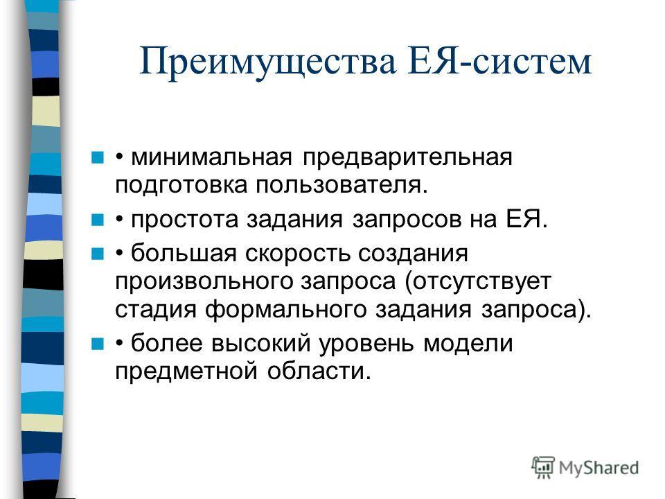 Преимущества ЕЯ-систем минимальная предварительная подготовка пользователя. простота задания запросов на ЕЯ. большая скорость создания произвольного запроса (отсутствует стадия формального задания запроса). более высокий уровень модели предметной обл