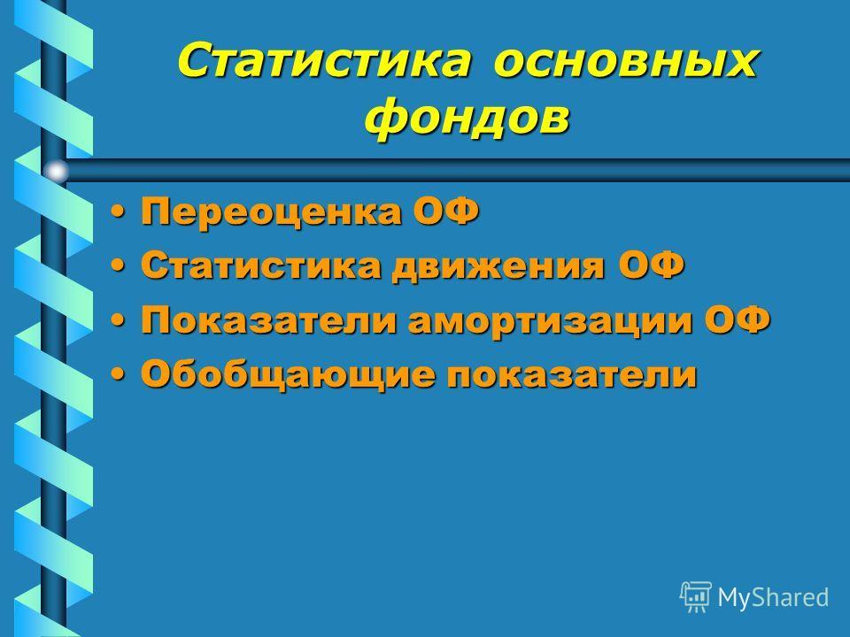 Статистика основных фондов Переоценка ОФ Статистика движения ОФ Показатели амортизации ОФ Обобщающие показатели