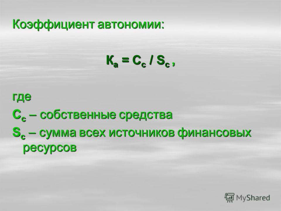 Коэффициент автономии: К а = С с / S с, где С с – собственные средства S с – сумма всех источников финансовых ресурсов