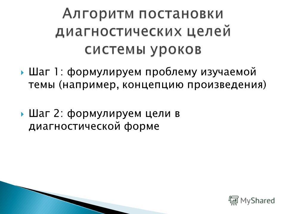 Шаг 1: формулируем проблему изучаемой темы (например, концепцию произведения) Шаг 2: формулируем цели в диагностической форме