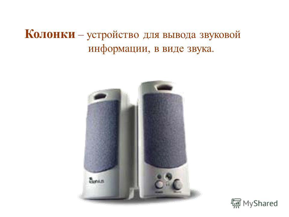 Колонки – устройство для вывода звуковой информации, в виде звука.